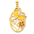 14K Gold Enameled Butterfly Oval Pendant