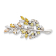 Sterling Silver Multi-color CZ Leaf Pin