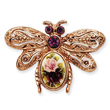 Rose-Tone Dark Purple Crystal Floral Decal Bee Pin