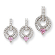 Sterling Silver Pink & Clear CZ Earrings and Pendant Set