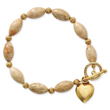 "Gold-Tone Riverstone With Heart Charm 7.25"" Toggle Bracelet"