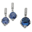 Sterling Silver Blue & Clear CZ Pendant & Earring Set