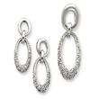 Sterling Silver CZ Oval Earring & Pendant Set