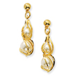 Gold-Tone Swirled Cultura Glass Pearl Post Earrings