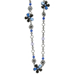 "Black-Plated Blue Crystal Flower 36"" Necklace"