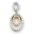 14K Two-Tone Gold Diamond Double Oval Pendant