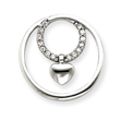 14K  White Gold Diamond Circle Heart Pendant