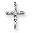 14K White Gold Diamond Latin Cross Pendant