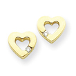 14K Gold AA Diamond Heart Earring