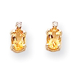 14K Gold Diamond & Citrine Birthstone Earrings