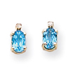 14K Gold Diamond & Blue Topaz Birthstone Earrings