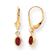 14K Oval Bezel July Ruby Leverback Earrings