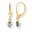 14K Oval Bezel December Blue Topaz Leverback Earrings