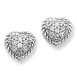 Sterling Silver Round CZ Heart Post Earrings