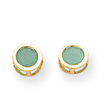 14K Gold Bezel Emerald Stud Earrings