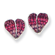 Sterling Silver CZ Ferido Style Heart Post Earrings