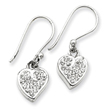 Sterling Silver With  Swarovski Crystal Heart Earrings