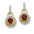 Sterling Silver Vermeil Dark Red Cubic Zirconia Earrings