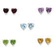 Sterling Silver Gemstone Post Earring Set