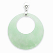 Sterling Silver Jade Circle Dangle Post Earrings