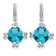 Sterling Silver Blue & Clear CZ Post Earrings