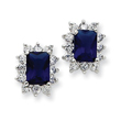 Sterling Silver Darl Blue and Clear Cubic Zirconia Earrings