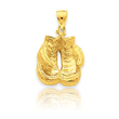 14K Gold Solid Polished Open-Backed Boxing Gloves Pendant