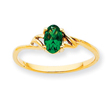 14K Gold May Emerald Birthstone Ring