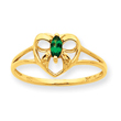 14K Gold Emerald May Birthstone Ring