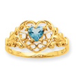 14K Gold Aquamarine March Birthstone Ring