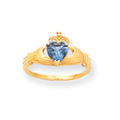 14K Gold CZ December Birthstone Claddagh Heart Ring