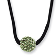 Black-plated Green Crystal Fireball On 16in Wise Extension Satin Cord Necklace