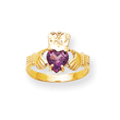 14K Gold June Birthstone Claddagh Ring