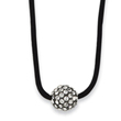 "Black-plated Clear Crystal Fireball On 16"" With Extension Satin Cord Necklace"