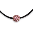 "Black-plated Pink Crystal Fireball On 16"" With Extension Satin Cord Necklace"