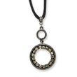 "Black-plated Black Crystal Circle On 16"" With Extension Satin Cord Necklace"