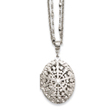 "Silver-tone Oval Locket On 16"" Double Chain Necklace"