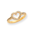 14K Gold Polished AA Diamond Heart Ring