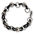 Stainless Steel Black Rubber Bracelet