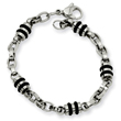 Stainless Steel and Rubber Accent Barrel Link Bracelet