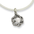 Stainless Steel Cultured Pearl & Cubic Zirconia Pendant