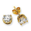 Gold-plated & Black-plated Sterling Silver 6.5mm CZ Stud Earrings