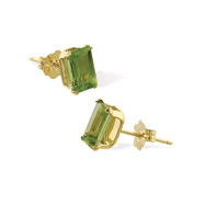 Picture of 14K 6x4mm Genuine Semi-Precious Peridot Emerald Cut Studs