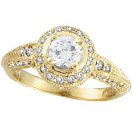 Picture of 18K Gold Antique Style Round Diamond Centerpiece Engagement Ring