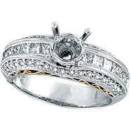 Picture of 18K White Gold 1.1ct Diamond Semi Mount Antique Style Setting SI1-SI2 G-H