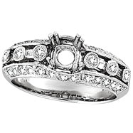 Picture of 18K White Gold .75ct Diamond Semi Mount Antique Style Setting SI1-SI2 G-H