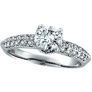 Picture of 18K White Gold 1.01ct Diamond Antique Style Engagement Ring SI2 H-I