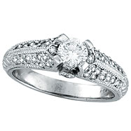Picture of 18K White Gold .90ct Diamond Solitaire Antique Style Engagement Ring SI2 H-I