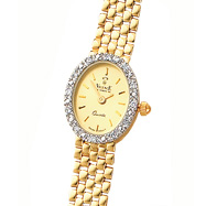 Picture of 14K Gold Women's Champagne Oval Dial Diamond Accented Water Resistant Watch