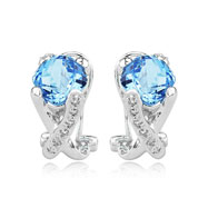 Picture of Cushion Cut Blue Topaz With White Gold Diamond Earrings